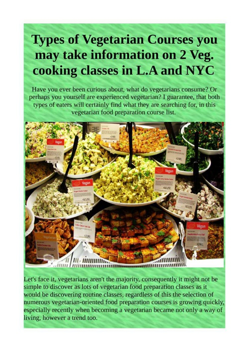 Types of Vegetarian Courses you may take information on 2 Veg. c