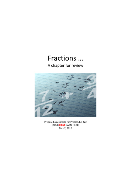Math - Chapter Review on Fractions