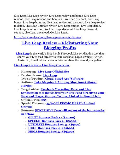Live Leap review-SECRETS of Live Leap and $16800 BONUS