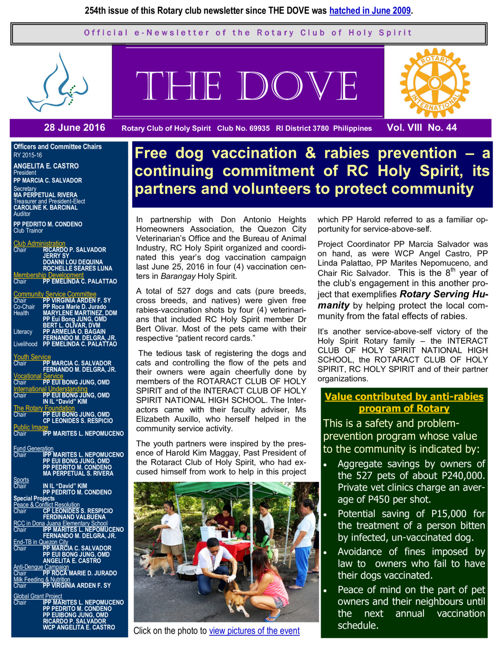 RC Holy Spirit THE DOVE  Vol. VIII No. 44  June 28, 2016