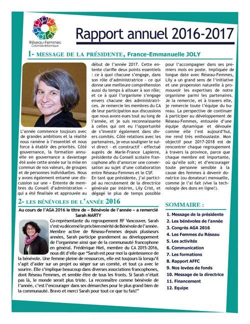 Rapport annuel Réeseau-Femmes CB 2016-2017