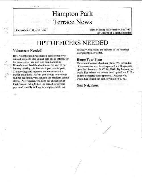 HPT Newsletter December 2003