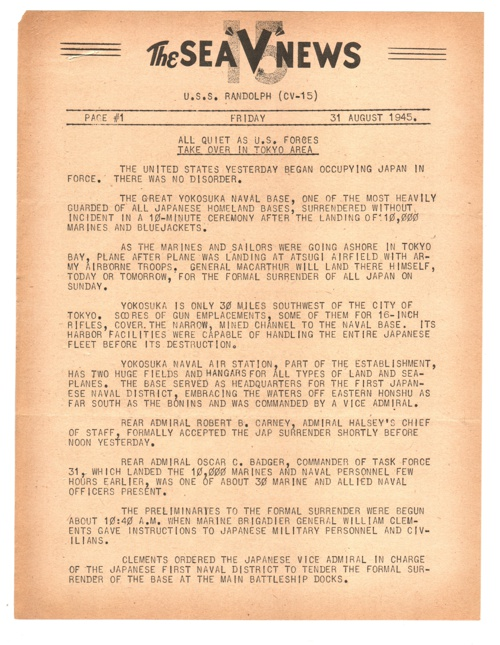 31 AUG 1945 SEA V NEWS