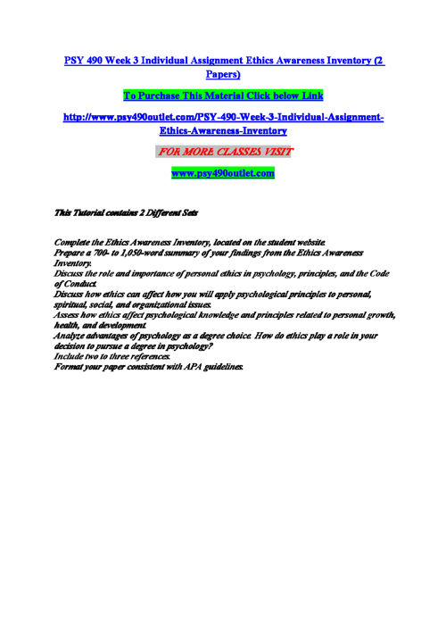PSY 490 Week 3 Individual Assignment Ethics Awareness Inventory