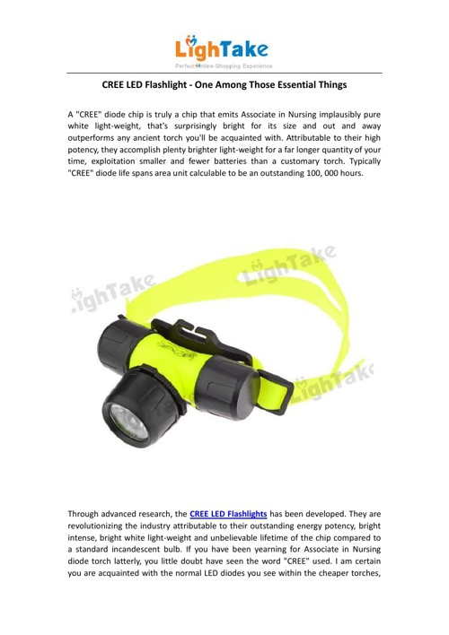 CREE LED Flashlight - One Among Those Essential Things