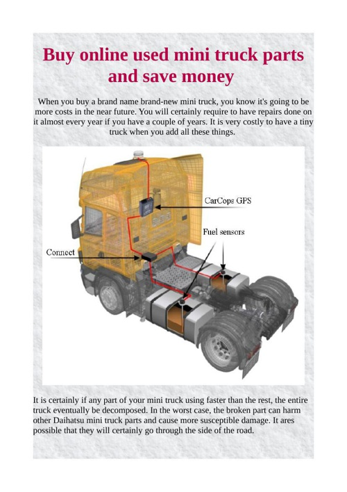 Buy online used mini truck parts and save money