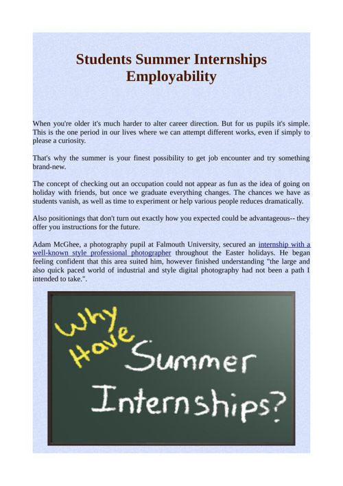 Students Summer Internships Employability