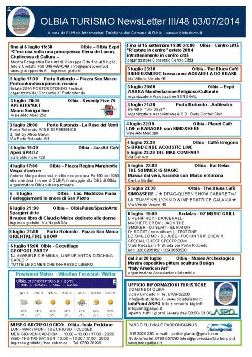 NEWSLETTER OLBIATURISMO 03072014