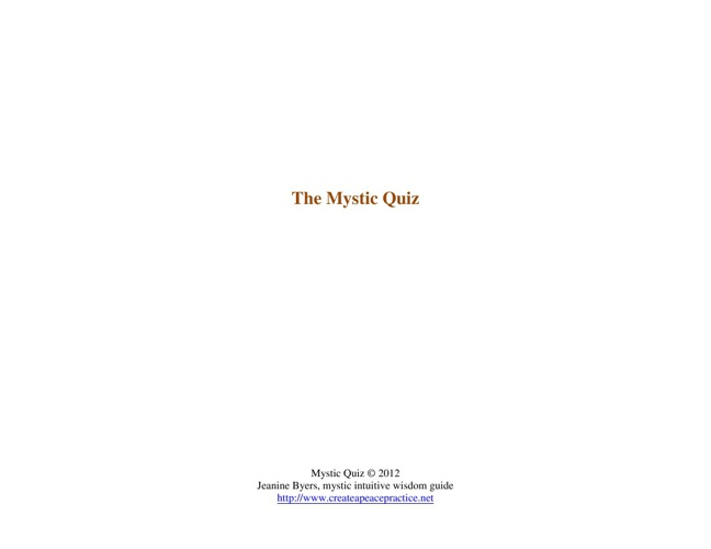 The Mystic Quiz