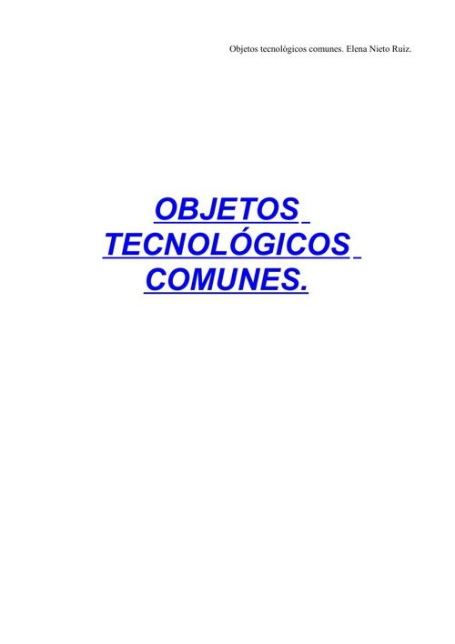OBJETOS TECNOLÓGICOS COMUNES