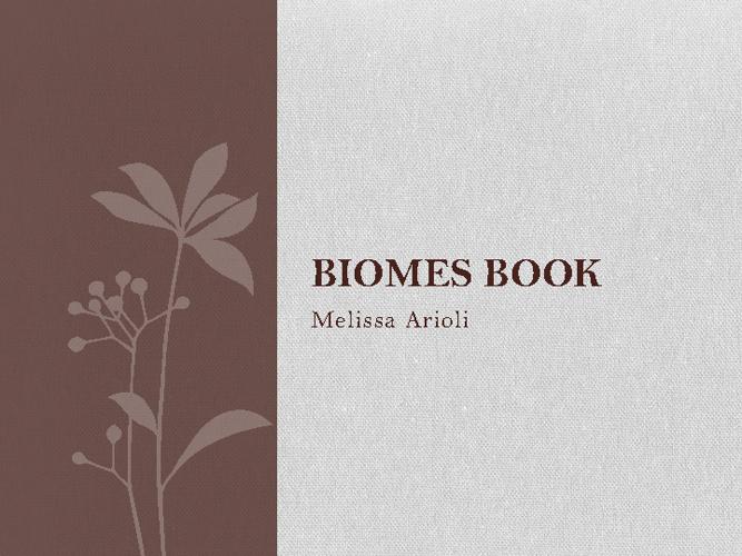 Melissa's Biome Book