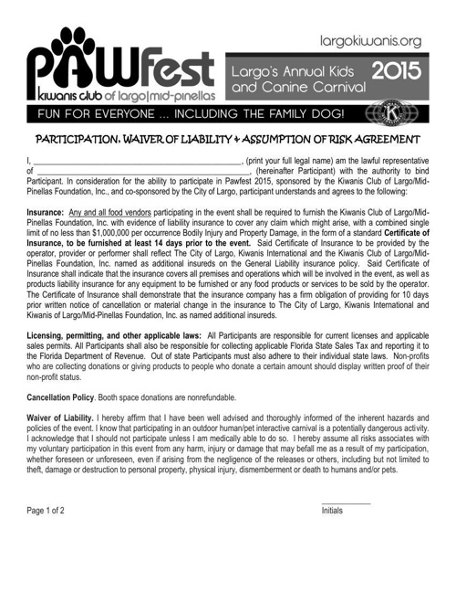 Pawfest 2015 Liability Waiver