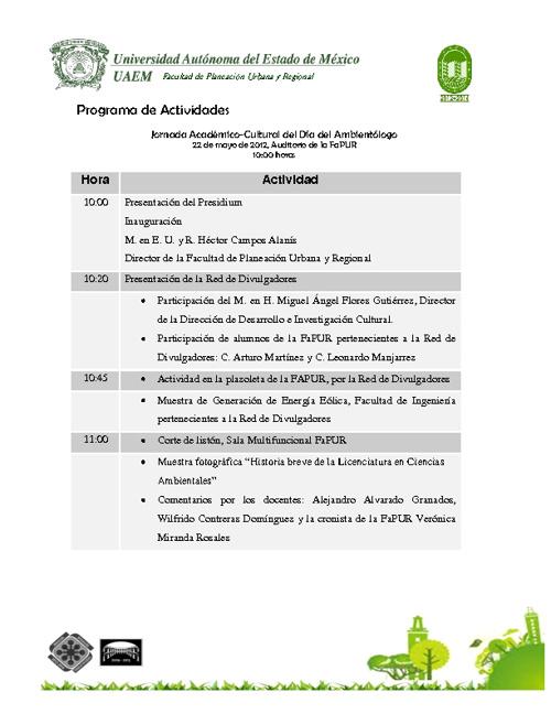 Programa Día del Ambientologo 2012