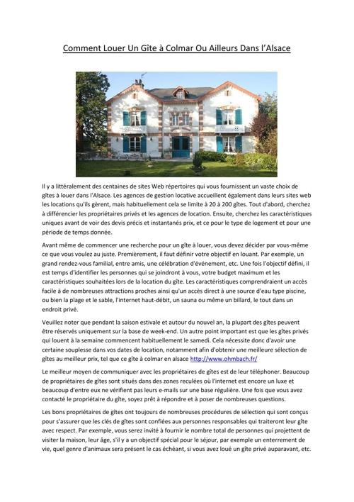Comment Louer Un Gîte à Colmar Ou Ailleurs Dans l'Alsace