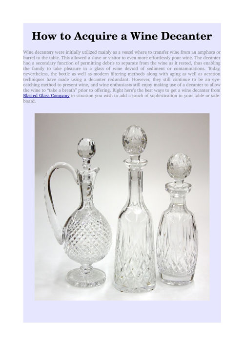 How to Acquire a Wine Decanter