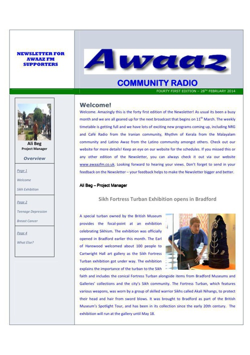 Awaaz Newsletter (March 2014)