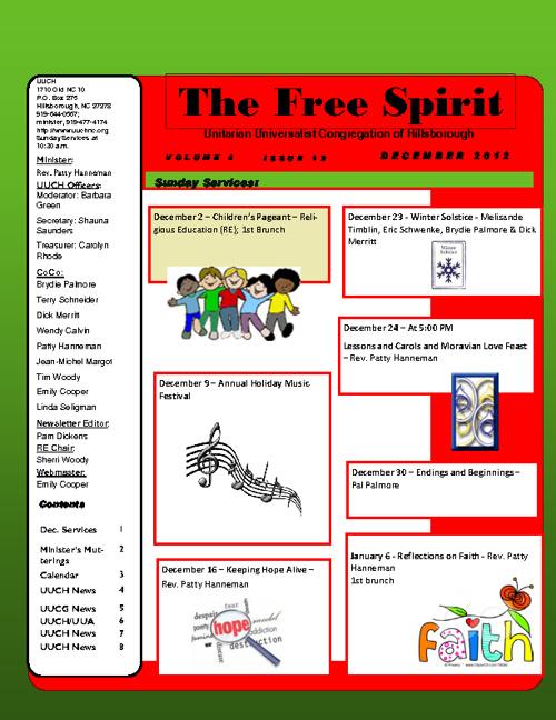 UUCH December 2012 Newsletter