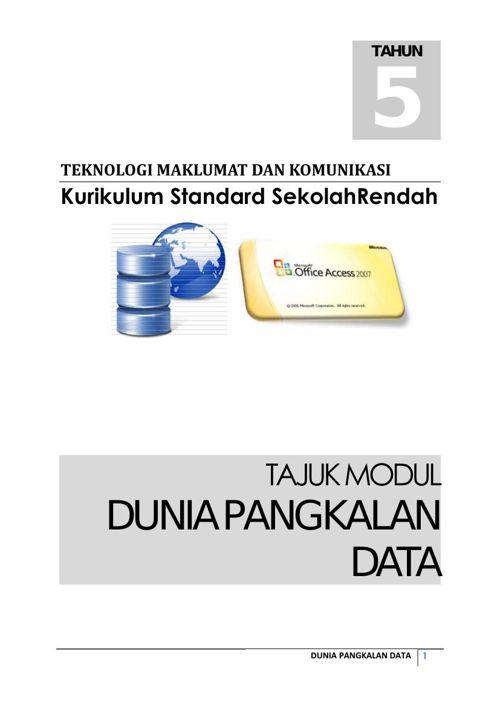 Modul Dunia Pengkalanan Data Tahun 5 Bhg 1