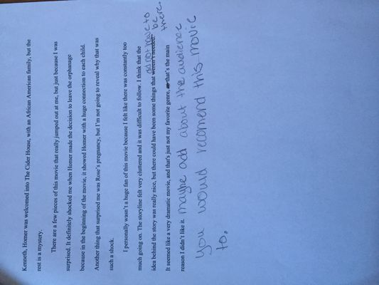 Cider House Rules Review Peer Edits