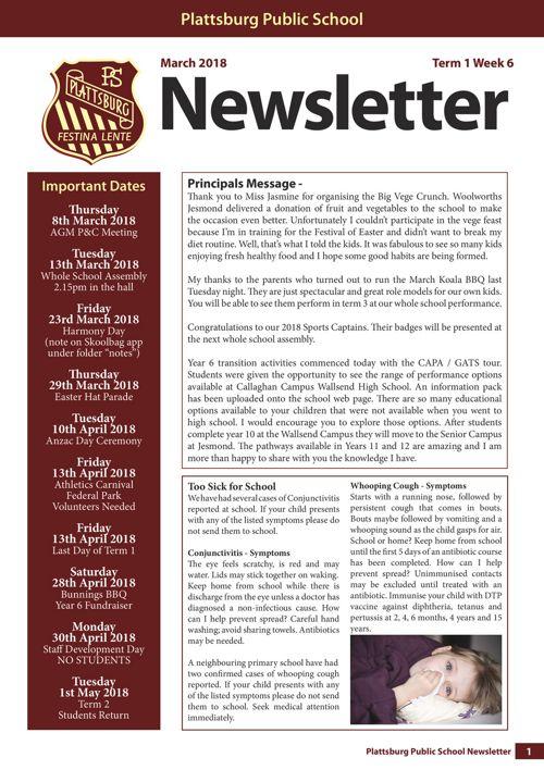 2018 Term 1 Week 6 Newsletter