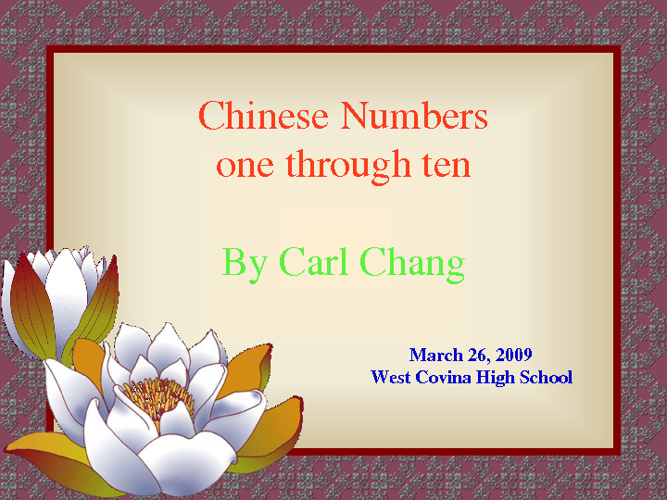 Chinese Numbers
