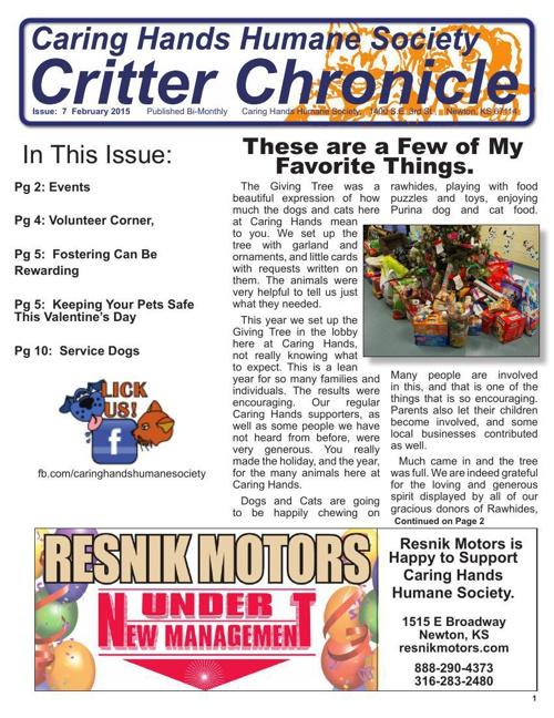 Critter Chronicle - February 2015