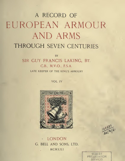 A Record Of European Armour And Arms - Vol 4