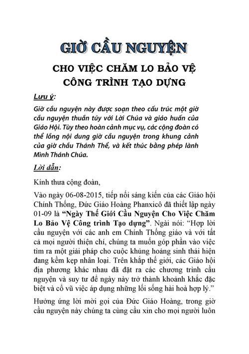 Gio Cau Nguyen cho Viec Cham lo Bao ve Thiên nhiên