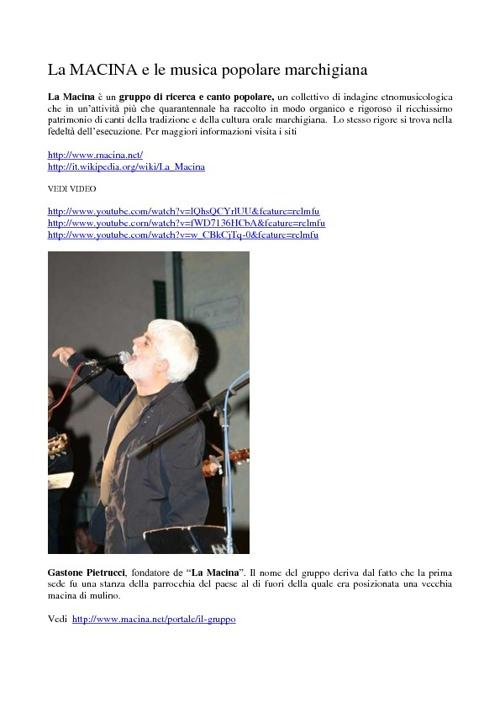 La MACINA e la musica popolare marchigiana