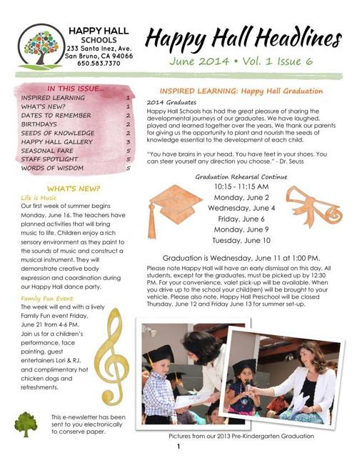 Preschool Monthly Newsletters