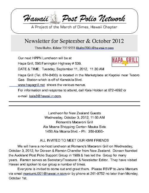 2012 September + October Newsletter