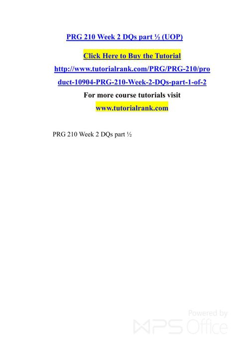 PRG 210   Academic professor / Tutorialrank.com