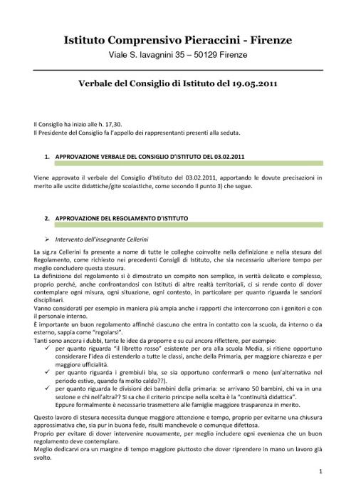 I.C.Pieraccivi - Verbale Consiglio d'Istituto 5 Maggio 11