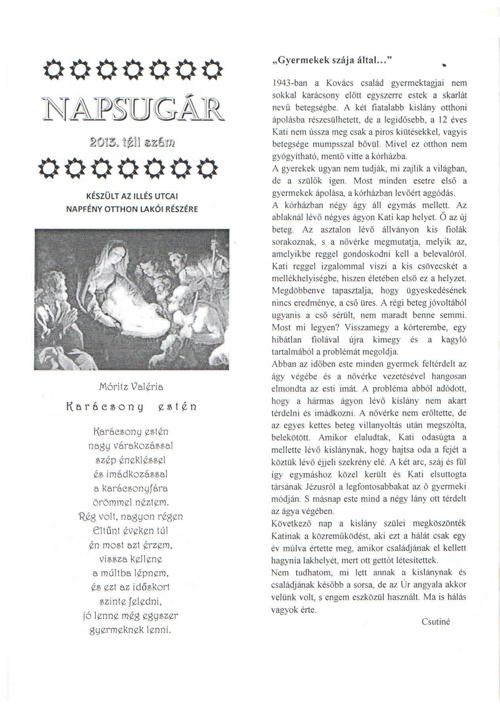 Napsugár újság - 2013. téli szám