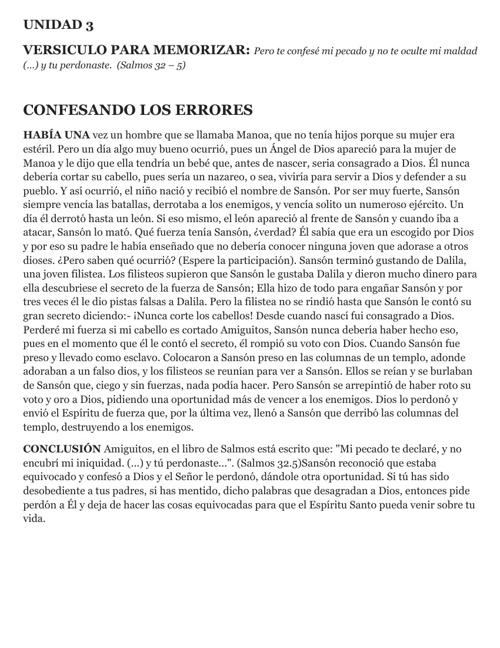 UNIDAD N° 3 CONFESANDO LOS ERRORES