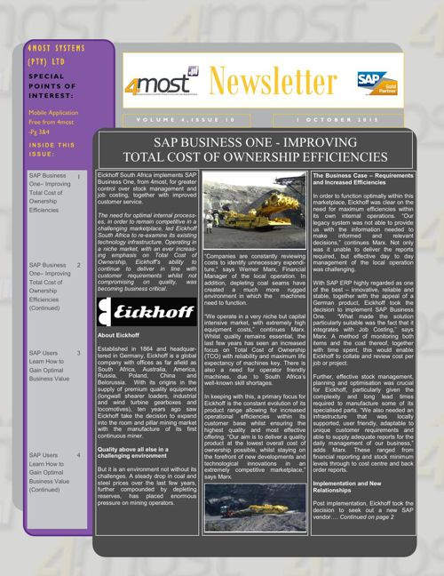 4most October 2015 Newsletter