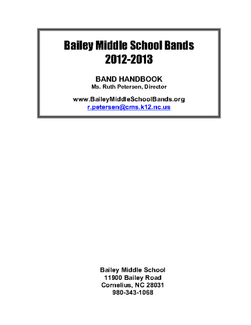 Bailey Band Handbook 2012-2013