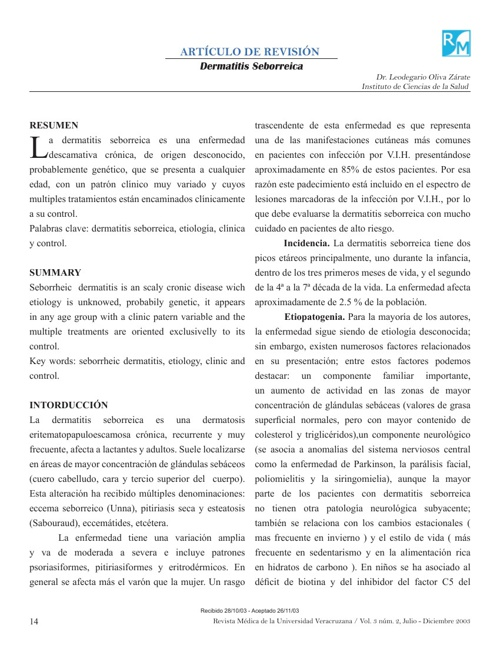 DERMATITIS SEBORREICA ARTICULO