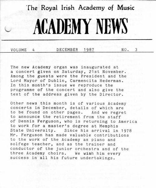 Academy News December 1987