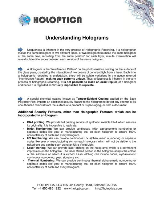 Understanding Hologram