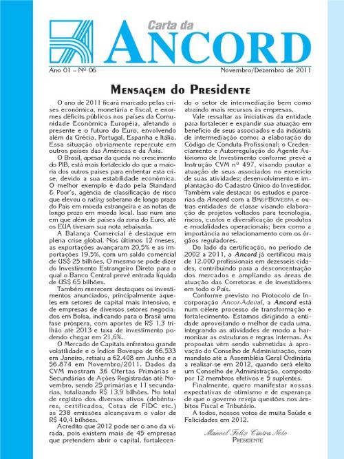 Carta da ANCORD - Novembro-Dezembro-2011