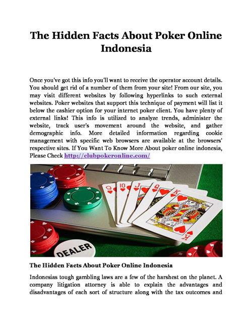 The Hidden Facts About Poker Online Indonesia