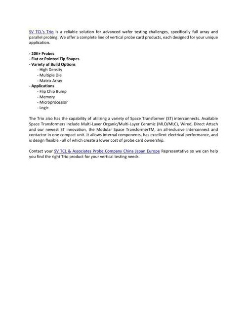 Trio Vertical SV TCL & Associates Probe Company China Japan Euro