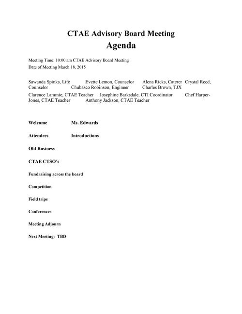 CTAE Advisory Board Meeting AGENDA March 15