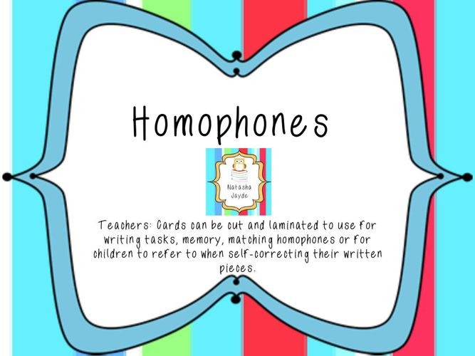 homophones flashcards and worksheets