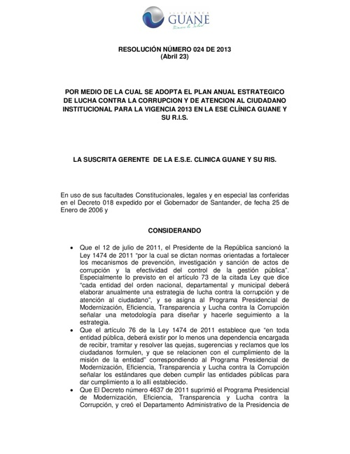 Plan antico Clinica Guane