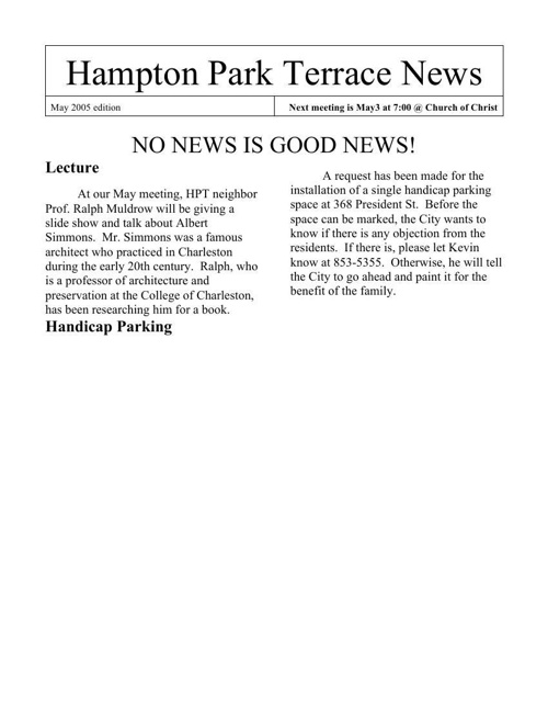 HPT Newsletter May 2005