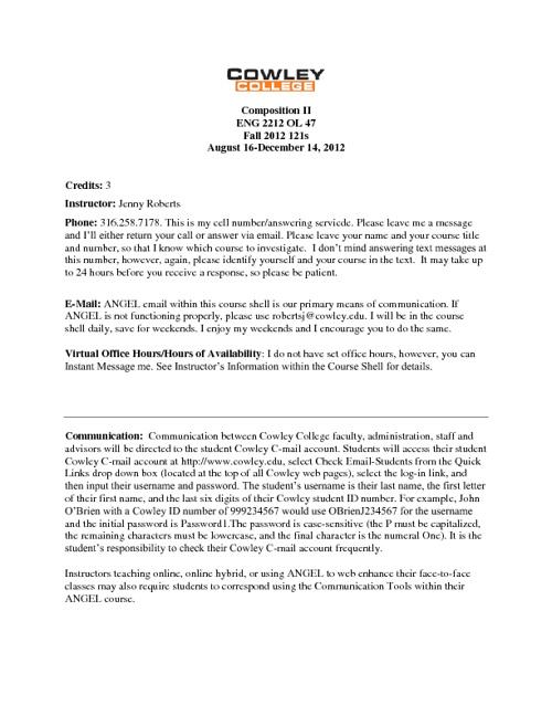 Composition II Syllabus