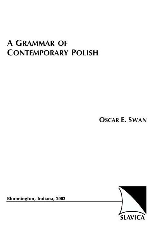 A grammar of contemporary Polish