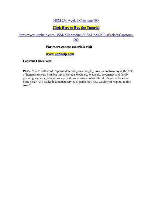 HSM 230 week 9 Capstone DQ